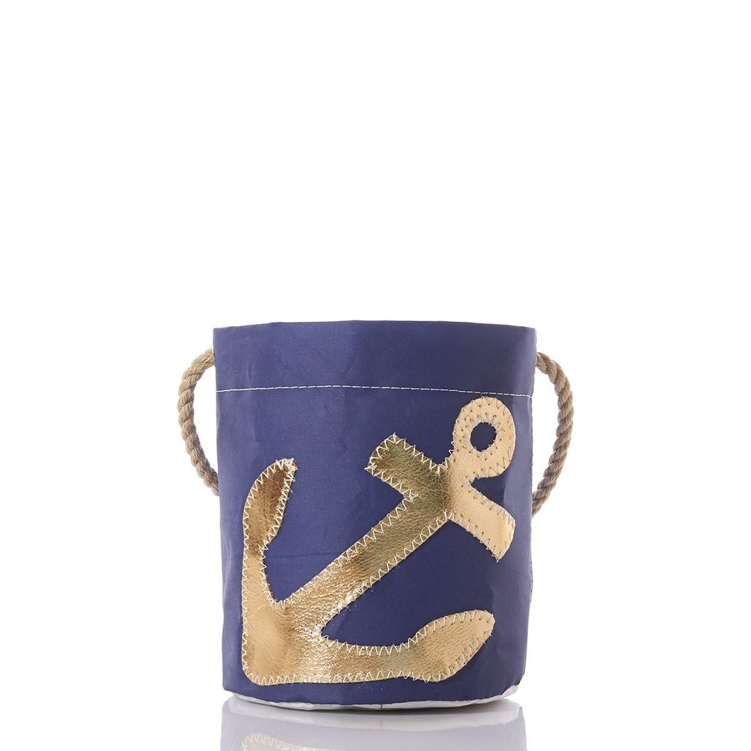 Gold Anchor on Navy Bucket Bag